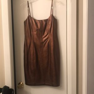 Escada Bronze Leather Dress